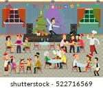people celebrate the new year... | Shutterstock .eps vector #522716569