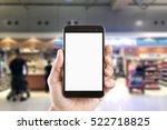left hand using smartphone with ... | Shutterstock . vector #522718825