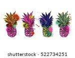 pineapple tropical fruit.... | Shutterstock .eps vector #522734251