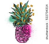 pineapple tropical fruit.... | Shutterstock .eps vector #522734314