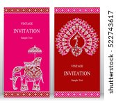 india invitation card  gold... | Shutterstock .eps vector #522743617