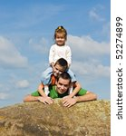 father and his happy children... | Shutterstock . vector #52274899