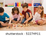 children playing with blocks on ... | Shutterstock . vector #52274911