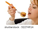 beautiful young woman eating | Shutterstock . vector #52274914