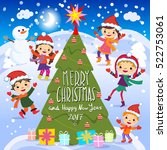 merry christmas and happy new... | Shutterstock .eps vector #522753061