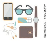 things a man carries with him ... | Shutterstock .eps vector #522755599