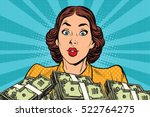 retro girl and a lot of money.... | Shutterstock .eps vector #522764275