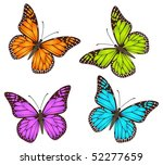Stock vector vector butterflies multicolour imagination about danaus plexippus monarch isolated on a white 52277659