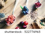 superfood  spoons of various... | Shutterstock . vector #522776965