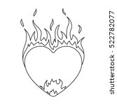 heart in flame icon in outline... | Shutterstock . vector #522782077
