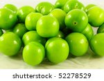 Fresh And Green Plums