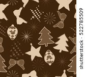 seamless pattern of christmas... | Shutterstock . vector #522785509