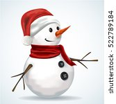 snowman wearing santa hat | Shutterstock .eps vector #522789184