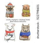 Stock photo hand drawn watercolor portraits of the cute animals wolf raccoon white bear beaver cartoon 522798601