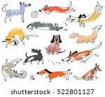 Stock vector hand drawn doodle cute dogs illustration set with playing pets with disk ball sniffing 522801127