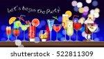 set of stemware and glasses... | Shutterstock .eps vector #522811309