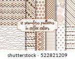 set of coffee seamless pattern. ... | Shutterstock .eps vector #522821209