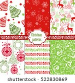 collection christmas seamless... | Shutterstock .eps vector #522830869