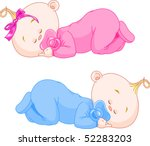 two charming little twins sleep ... | Shutterstock .eps vector #52283203