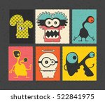 set of retro postage s stamp... | Shutterstock .eps vector #522841975
