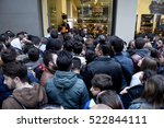 Small photo of Thessaloniki, Greece - November 25, 2016. People wait outside a department store during Black Friday shopping deals, at the northern Greek city of Thessaloniki.
