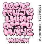 graffiti bubble shaped alphabet ... | Shutterstock .eps vector #522845011