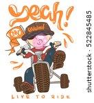 cool kid on bike  t shirt print. | Shutterstock .eps vector #522845485