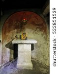 Small photo of Rome, Italy - August 17, 2016: Remains of an ancient Crypt of Adrian I from the 2nd century BC in the Basilica di Santa Maria in Cosmedin in Rome, Italy