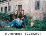 beautiful girls camp and enjoy  | Shutterstock . vector #522852934