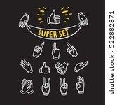 set of  hands showing different ... | Shutterstock .eps vector #522882871