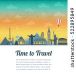 travel composition with famous... | Shutterstock .eps vector #522895849