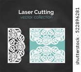 laser cutting roses card. laser ... | Shutterstock .eps vector #522896281