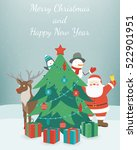greeting christmas and new year ... | Shutterstock .eps vector #522901951