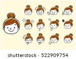 woman  face  facial expression  ... | Shutterstock .eps vector #522909754