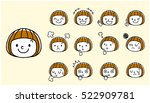 girls  face  facial expression  ... | Shutterstock .eps vector #522909781