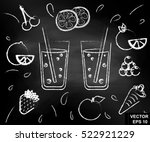 fresh juice on the chalkboard.... | Shutterstock .eps vector #522921229