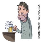unhappy man drinking beer | Shutterstock .eps vector #522927865