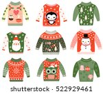 cute ugly christmas sweaters... | Shutterstock .eps vector #522929461