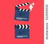 flat movie clapperboard symbol. ...   Shutterstock .eps vector #522933535