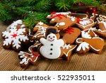 homemade christmas cookies  ... | Shutterstock . vector #522935011