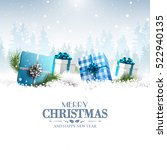 blue gift boxes in the snow  ... | Shutterstock .eps vector #522940135