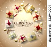 christmas gift boxes and... | Shutterstock .eps vector #522940204