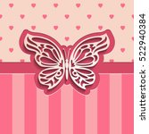 Stock vector vintage paper cut vector background d lacy butterfly on seamless pink background of hearts and 522940384