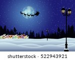 santa's sleigh in front of full ... | Shutterstock .eps vector #522943921