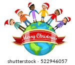 multicultural kids wearing xmas ... | Shutterstock .eps vector #522946057