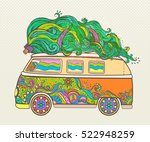 hippie style car with tree....   Shutterstock .eps vector #522948259