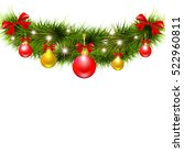 christmas garland on a white | Shutterstock .eps vector #522960811