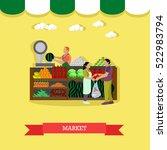 Vector Illustration Of Market...
