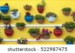 bright flowers in pots on... | Shutterstock . vector #522987475