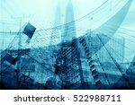 blurred building and technology ... | Shutterstock . vector #522988711
